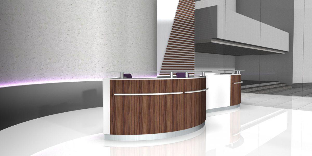 fm Büromöbel Planungsbeispiel Empfangstheke Empfangsbereich